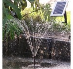 Aqua Moda® Solar Fountain With Brushless Pump, Timer, Battery Back Up and LED Lighting