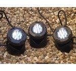 PondKraft Underwater Pond Lights LED, Set of 3 with coloured lenses.