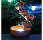 Solar Powered Terracotta Cascade Water Feature with LED Light and Battery