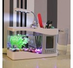 White Mini USB LCD Desktop Lamp Light Fish Tank Aquarium LED Clock Timer