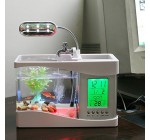 Anself Mini USB LCD Desktop Lamp Light Fish Tank Aquarium LED Clock White with 6 modes of tranquil nature sounds, fish tank ornaments. Reviews