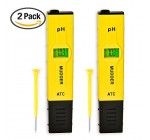 Mudder 2 Pack 0.01pH Accuracy Digital pH Meter/ pH Pen Tester with Backlit LCD, Yellow