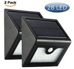 XYT 28 LED Outdoor Solar Wall Lights 3 IN 1 Mode Off/Dim/Bright,Ultra Bright for Garden With Security Motion Sensor Wireless Waterproof 2200mAh Battery(2 Pack)