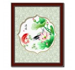DOMEI Stamped Cross Stitch Kit, Koi Carp Fish Swimming in Lotus Pond, 22.8 x 22.8 inches