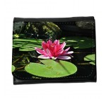 Small Faux Leather Wallet with card slot // M00313450 Water Lily Pond Aquatic Plant Pink // Small Size Wallet