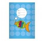 Nice Goldfish A4Exercise Book, Rake Handle on Spots on Yellow Line Style 22(Checked), light blue