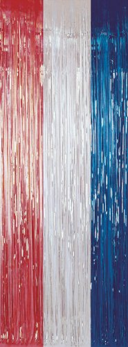Amscan PPP GB Fringe Door Curtain, Red/ Silver/ Blue