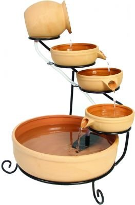 Terracotta Solar Cascade Water Feature with Battery Backup and LED Lights