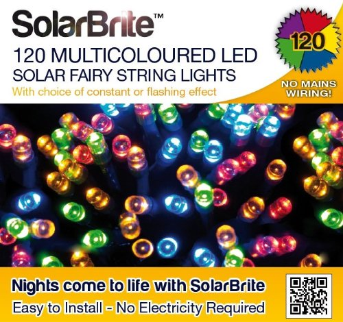 Solar Brite Deluxe Multi Coloured Solar Fairy Lights 120 LED Super Bright Decorative String, choice of light effect. Ideal for Trees, Gardens, Parties & More…