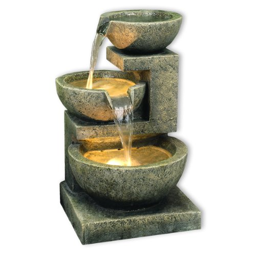 Kyoto Three Bowl Cascade Lit Garden Water Feature 49cm / 19.3""