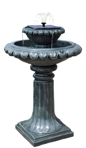 Ambiente Victoriana Programmable Solar Water FeatureBird Bath With Led Lights
