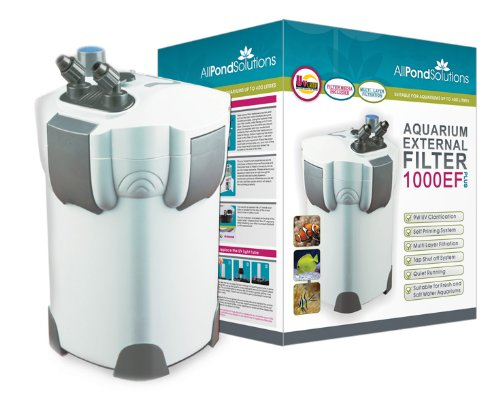 Aquarium External Fish Tank Filter 1000L/H + 9W UV Light Free Filter Media All Pond Solutions 1000EF+