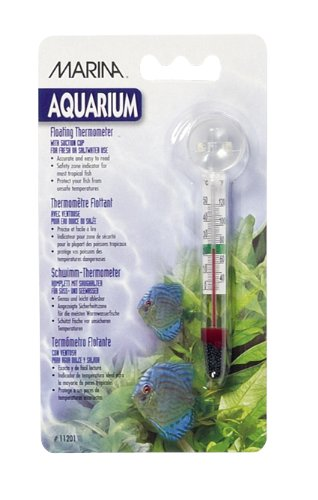 Marina Aquarium Floating Glass Thermometer with Sucker