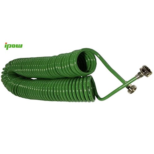IPOW 50-foot X 3/8-inch Expanding Hose Green Flexible Expandable Safe Polyurethane Curly Spiral Coil Garden Water Hose Pipe