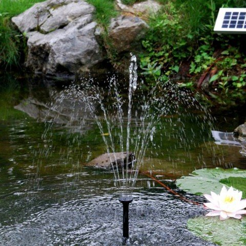 Sunspray® SE 360 solar fountain for small ponds and containers with battery backup and adjustable flow pump