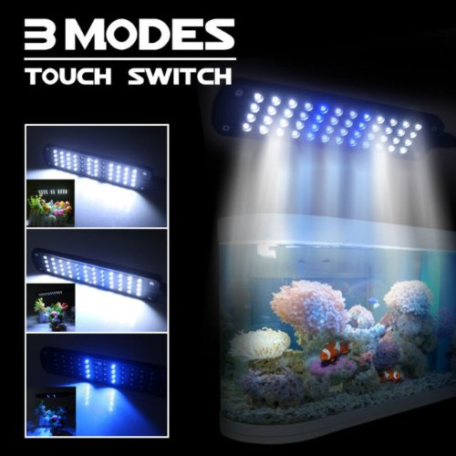 Amzdeal® Aquarium Fish Tank Light LED Clip Lamp, Flexible Arm, 3 Working Modes: Blue, White, White+Blue Light