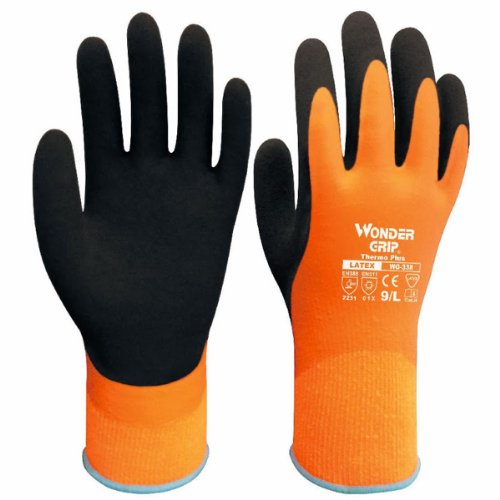 Safe Cold-proof Winter Protection Double Layer Wonder Grip Latex Gloves Water-proof Glove (Orange, 10_uk)