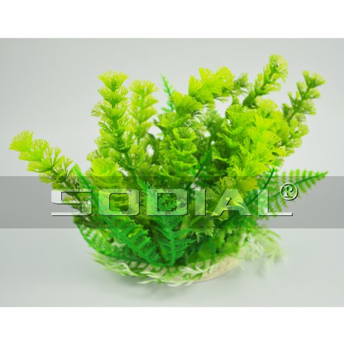 SODIAL(R) Fish Tank Aquarium Green Plastic Grass Plants Decoration 6.7″ High Reviews