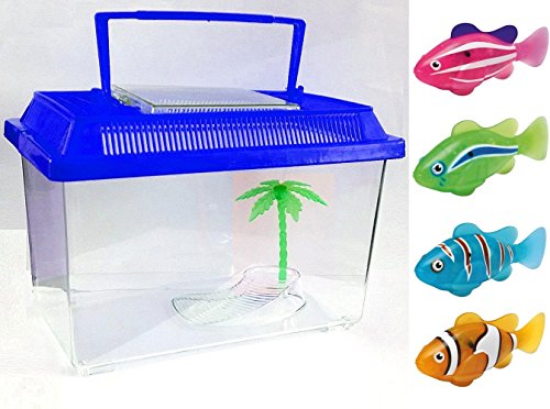 Robot Fish With Tank – Water Activated Battery Powered Robotic Fish Pet Kids Children Toy Play