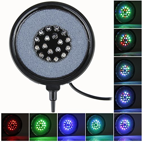 Excelvan® Pocket Size 18LED Aquarium Fish Tank Round LED Up Air Bubble Light Lamp Air Stone (Flash Multicolor)