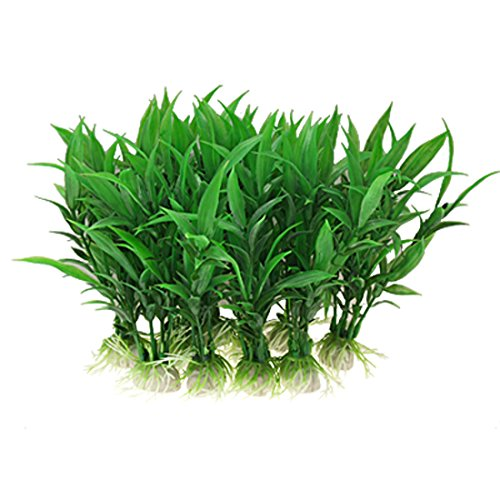 Sourcingmap Plastic Aquarium Water Plants/Aquatic Grass, 10 Pieces, Green