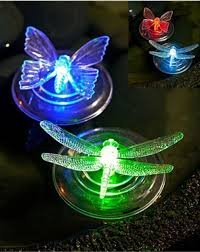 4 x Colour Changing Solar Floating Garden Pond Lights (2 x Butterfly & 2 Dragonfly) New