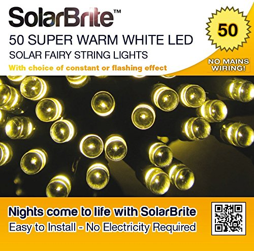 Solar Brite Deluxe Solar Fairy Lights 50LED Super Bright Warm White Decorative String, choice of light effect. Ideal for Trees, Gardens, Parties & More…