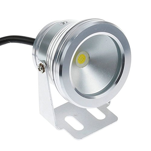 Ossun 10w 12v Warm White Aircraft Aluminum IP68 Waterproof LED Underwater Pond Pool Light Outdoor Floodlight,for Aquarium Fish Tank Fountain Swimming Landscape Adjustable -Silver