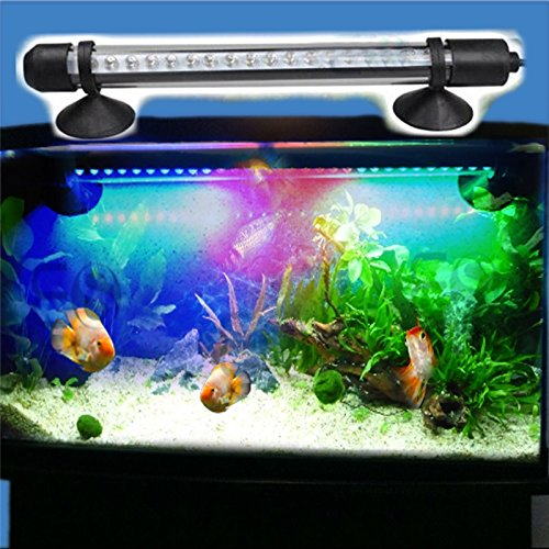 iNextstation 18cm Glass Tube Mounted Fish Tank Aquarium multicolor Colorful Waterproof Light LED Lamp Magic Color Decoration, working modes : Blue , Red, Green Light