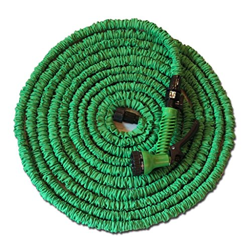 100FT Expandable Garden Flexible Water Hose Pipe & Spray Gun for gardening, recreational vehicles, pools, workshops, boats, washing cars, & the house (Green)