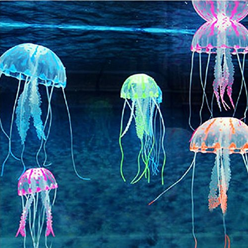 HuntGold Artificial Jellyfish Ornament Glowing Effect Fish Tank Decoration Aquarium(orange)