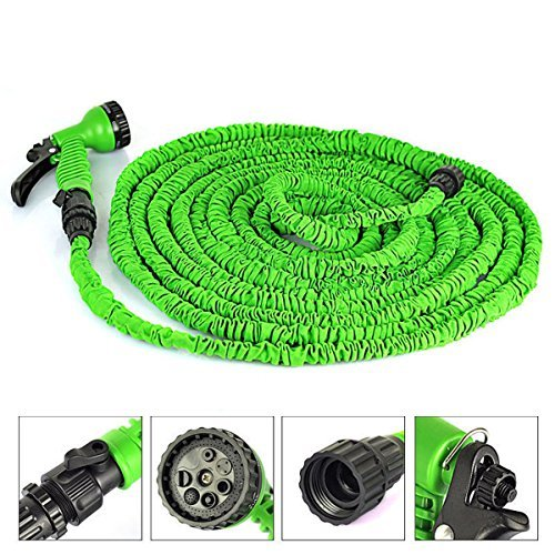 OGIMA Deluxe Latex Flexible Expandable Magic Garden Water Hose With 7 Functions Spray Nozzle and Shut-off Valve-Green (100FT)
