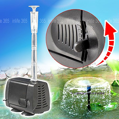 Bellesson 2 in 1 Submersible Pump Aquarium Pond Water Hydroponic Fish Tank Powerhead Fountain 400L/H