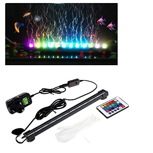 36cm Bubblefun 12V 21 LED 5050 RGB Aquarium Fish Beaming Tank Curtain Underwater Waterproof Bubble Light Air Pump Bubble Light Energy Saving LED Fish Tank Aquarium Bar Stick Strip with Controller Reviews