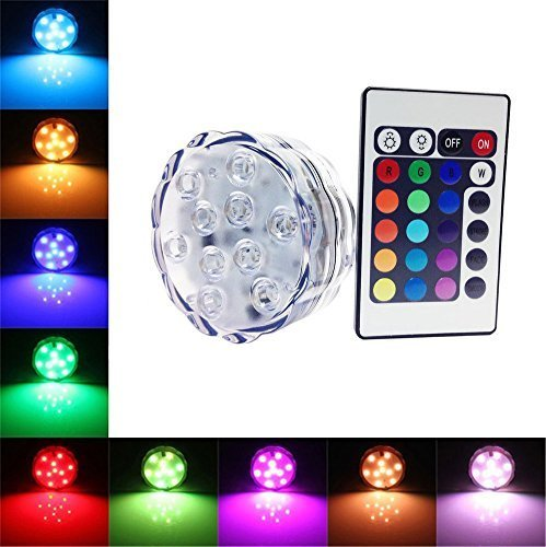Waterproof Submersible Colour Changing LED Lights Battery Powered 10 LED with Remote Control for Wedding, Party, Swimming Pool, Fish Tank, Christmas Decorations Light