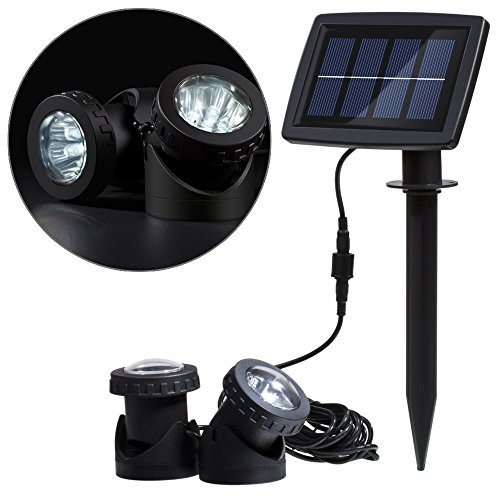 Lixada Solar Powered Super Bright 2 Underwater Lamps 12 LEDs Light Sensor Projector Light Garden Pool Pond Yard Submersible Spotlight Outdoor Landscape Lighting Use