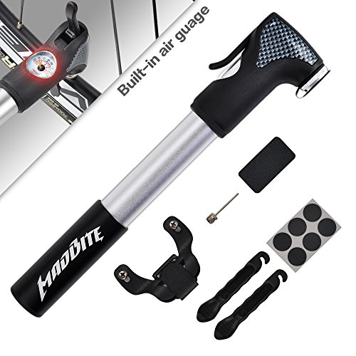 Madbite® Mini Bike Air Pump 120PSI Telescopic, Compact & Portable Bicycle Frame Pump – Easy-Read Gauge – BONUS 2 Tire Bars, 6-Piece Glueless Puncture Repair Kit, 1 Inflation Needle – Fits Presta and Schrader Air Valves, Lifetime Warranty (Air Pump) Reviews