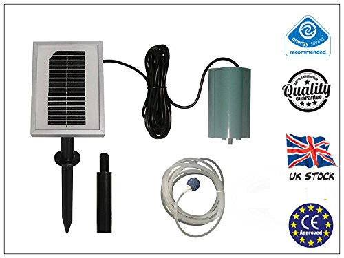 Garden mile® 120LPH SOLAR POWERED OXYGENATOR POND WATER OXYGEN PUMP 1 AIR STONE FOUNTAIN AERATOR