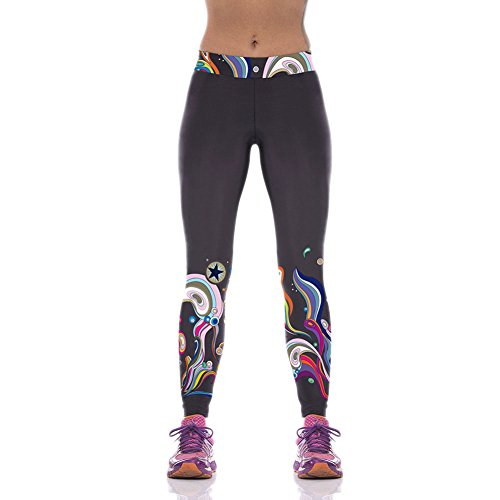 Pinkyee Women's Yoga Exercise Legging Pants Cartoon Aquatic Plant