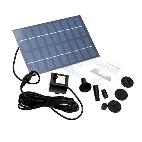 SIEGES 1.8W Solar Power Panel Submersible Water Pump Kits for Lawn Garden Pond Fountain Pool Water Cycle/Pond Fountain/Rockery Fountain (SQUARE)