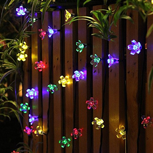 Solar String Lights, IDEAPRO Garden Flower Lights 50 LED 7M Waterproof Decorative Lighting Fence Lights for Christmas, Wedding, Party, Home
