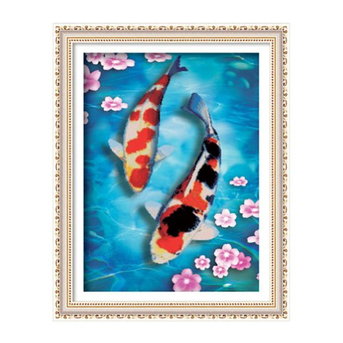 Pair of Koi fish 3D Stamped Cross Stitch Kit – 20.1inch By 26.4inch