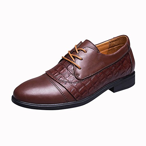 Spades & Clubs Mens Fashion Formal Genuine Leather Crocodile 2.5 Inch Hidden Heel Wedding Dress Elevator Shoes Size 6 UK Brown