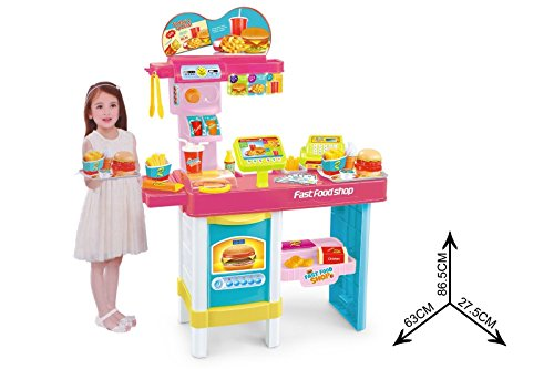 Fast Food Shop Toddler Play Shop With Cash Register, Pretend Money + Food