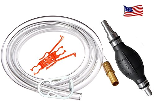New! Plumber's Siphon Pro – Universal Petrol, Oil, Potable Water – 1 Gl. Per Min. – W/ 8′ (2.44 meters) of Hose & Fits Any Hose, Any Length – Brass Weight & Hose Extender to Sink Hose -More Gl. Per Minute W/larger Hose Reviews