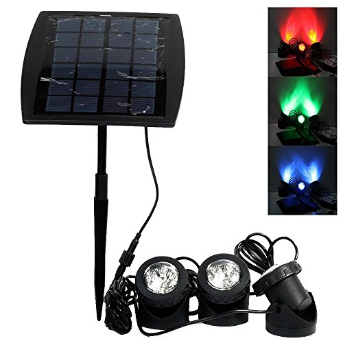 Solar LED Spotlights with 3 GRB Lamps 18 LEDs, Ankway Adjustable IP68 Waterproof Underwater Pond Lights, 3-Color Changing In-Ground Solar Powered Spotlights for Pool, Pond, Garden, Yard, Wall and Path Road-Auto ON/OFF (Red, Green, Blue)