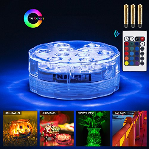Zhuofu Submersible Pool Led Lights with IR Remote Controlled 10-LED RGB and Waterproof Battery Powered Light for Vase Base,Pond,Party,Hot Tub,Inground pool,Fountain,Christmas,Halloween (4)