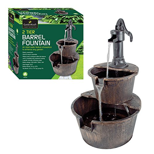 GardenKraft 20890 2-Tier Barrel Water Fountain with Pump – Bronze