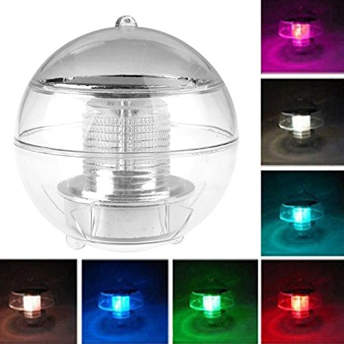 Kasstino Solar Power Floating Rotate Waterproof LED Light Ball Pond Pool Path Lands Lamps (Multi-colored)