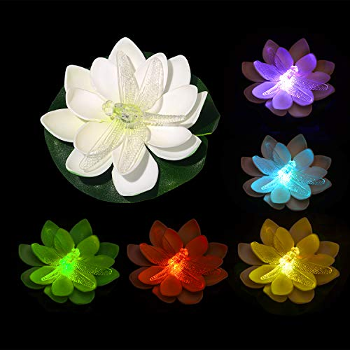 LED Floating Lotus Light – Colorful Color Changing Light Battery Operated in Favor of Swimming Pool,Fish Tank,Bar,Banquet,Ballroom Decoration Set of 12 … (Dragonfly Pattern) Reviews